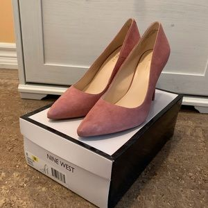 Nine West size 8 brand new pink suede high heels